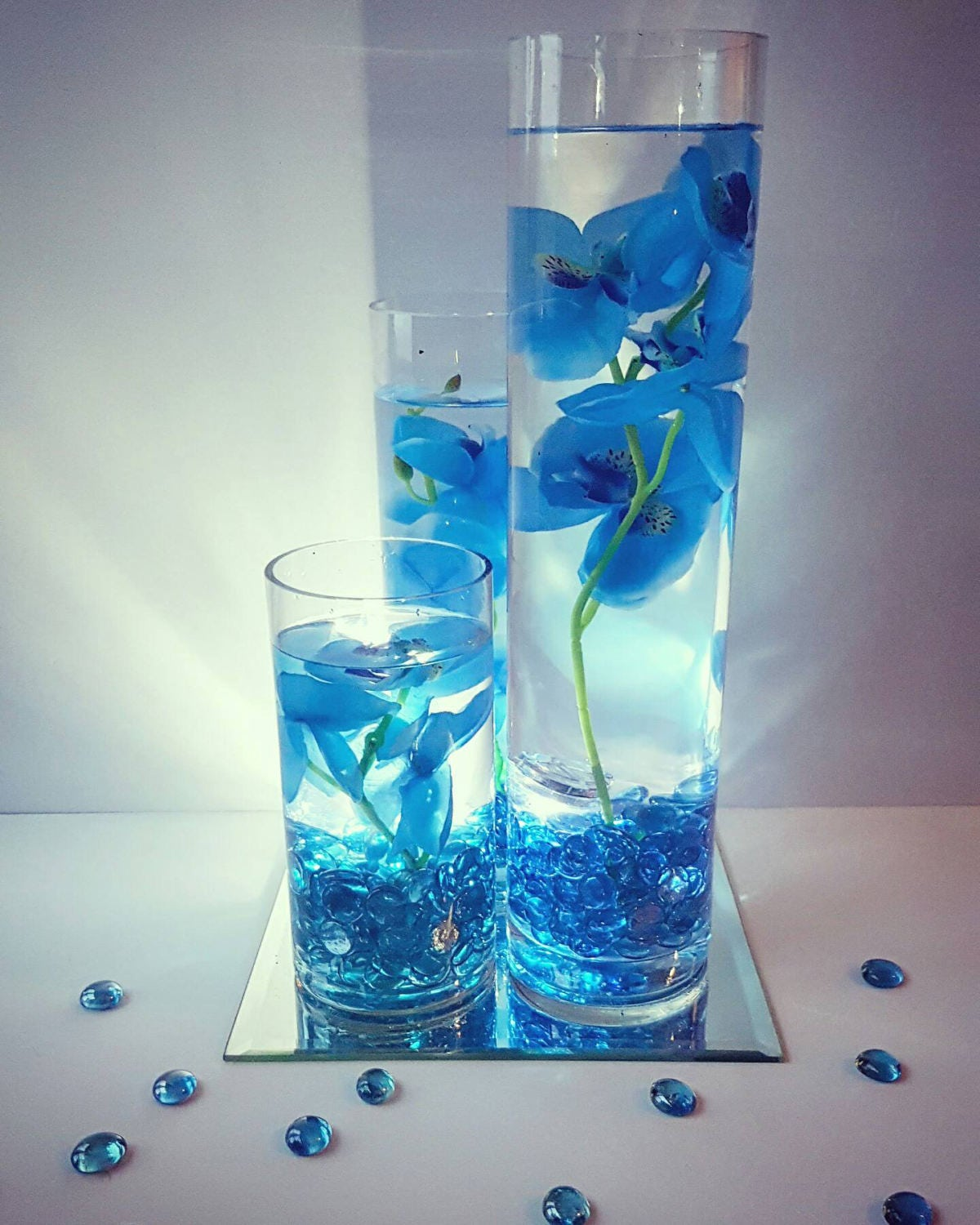 Wedding Centerpiece Floating Candle Centerpiece With Blue