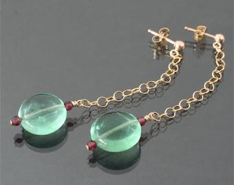 fluorite garnet earrings red and green earrings long post earrings gemstone earrings long dangle earrings round drop earrings gift under 30