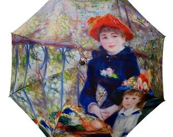 Foldable umbrella - Painter RENOIR: terrace - two sisters