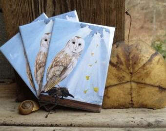 Owl & Gingko Magnet
