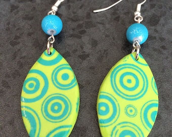 Earrings dangle fancy polymer green and turquoise