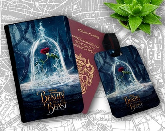 Enchanted Rose Curse Disney Beauty Beast Belle Passport Holder Flip Cover Case And Luggage Tag
