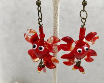 Lobster Red Lampwork Earrings Glass Dangle Doodaba