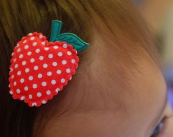 Big Red Apple Hair Clip for Baby Girl - No Slip Grib
