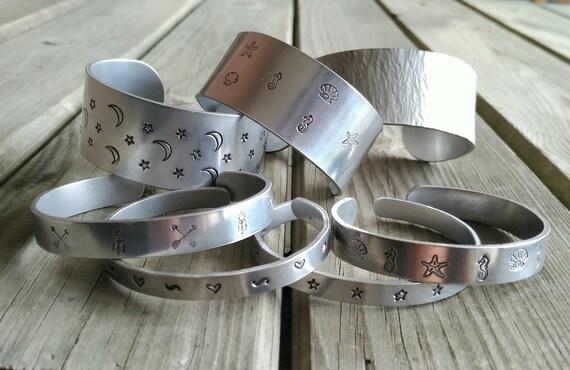 Hand Stamped Aluminium Bracelets, Personalized Bracelets, Silver Boho Bracelet