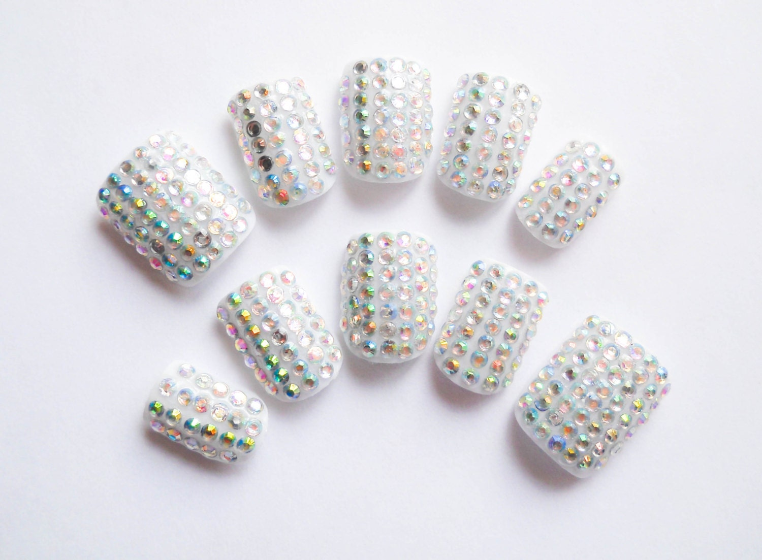 Short Rhinestone Nails / Fake Nails / Press on Nails / False