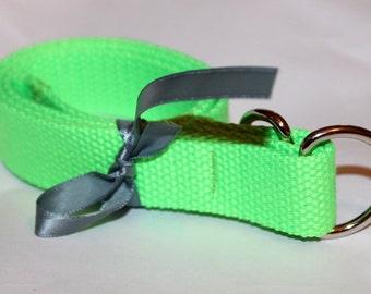 Kids Neon Green Belt Neon Green D Ring Fluorescent Green Webbing Belt Fluorescent Green Kids D Ring Belt Boys Neon Belt Canvas Belt Kids