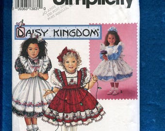 Simplicity 8318 Daisy Kingdom Dress for Little Girls  & Pinafore with Ruffled Shoulders Sizes 2..3..4