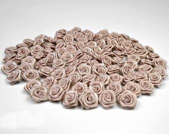 20 skulls coffee cream 1.50 cm in diameter ref 813 satin rose