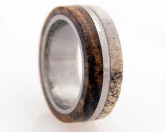 antler ring titanium ring with wood bocote deer antler band