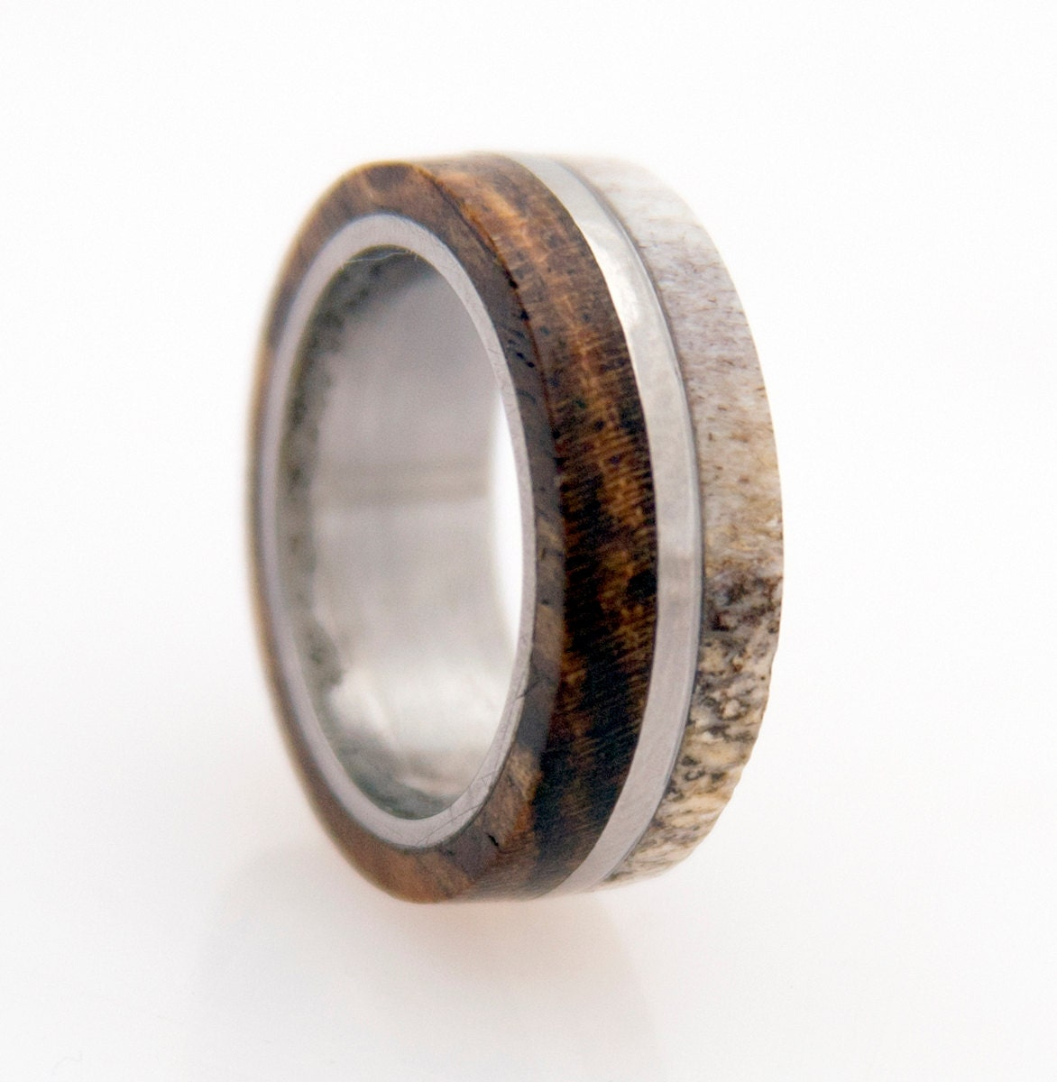 made inlaid custom products damascus hunters band wedding in rings deer steel antler solid ring