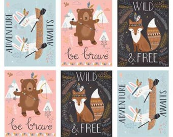 Wild Free Panel - From Abi Hall - For Moda - Multi (35310 11) - One Panel = One Yard - 10.50 Dollars