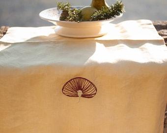 Center Poppy Tea Towel - Burgundy & Pale Green Embroidered Rose-Gold Linen