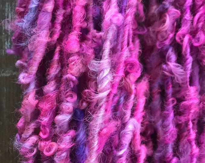 Pixie - 50 yards handspun yarn, pink art yarn, lockspun yarn, curly handspun yarn,