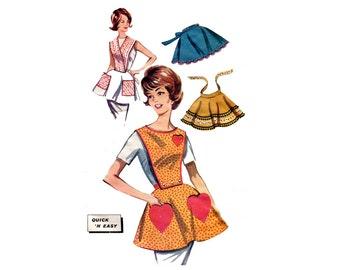 Vintage Easy Aprons Pattern Bib or Half Apron Heart Pockets Button On Bib Cross Plastron Butterick 9983 Bust 34 36 Vintage Sewing Pattern