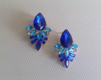 Blue earrings, Wedding Earrings -Bridal Earrings, Vintage Wedding, Crystal Earrings, Dangle Earrings, Wedding Jewelry