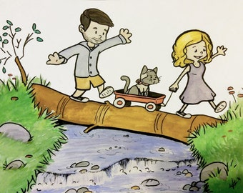 CUSTOM Watercolor Painting - Calvin and Hobbes Style - 5x7 up to 11x14
