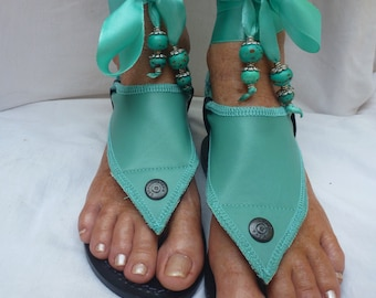 Hippy Chic,Boho, Sole Pakashoes with Unique Turquoise Leather Cover Just for YOU Switchable Free Shipping