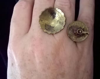 Sculpture ring with coins and antique key