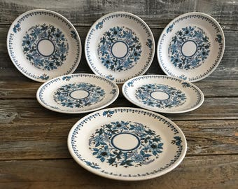 6 Vintage Noritake Progression China Blue Moon Bread Plates Blue White Floral Design Dishes, Made in Japan