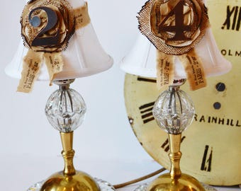 Pair ANTIQUE CRYSTAL BOUDOIR lamps and shades industrial french chic design