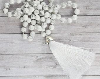 Long White tassel necklace / White boho tassel necklace / White howlite tassel necklace / Hand knotted Howlite tassel necklace
