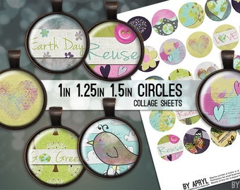 Love Earth Green Recycle Digital Collage Sheets 1 inch 1.25 and 1.5 Circles Printable Download for Pendant Magnet Bottle Cap Necklaces JPG