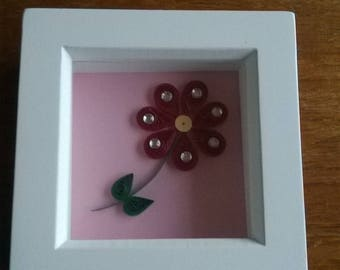 Red quilled daisy with gems