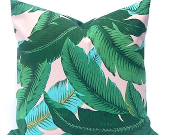 Outdoor Pillow Cover - Tommy Bahama Swaying Palms - Pink Pillow - Banana Leaf Pillow Cover - Pink and Turquoise - Destination Wedding