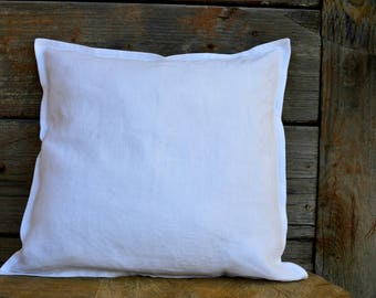 White decorative pillow cover made from 100 linen fabric