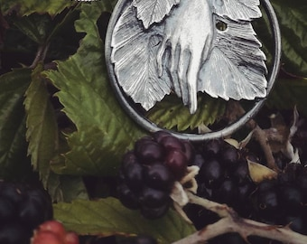Harvest Pendant in Sterling Silver, 85cm Chain, Nature inspired hand with leaves.