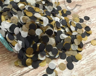 Tissue Paper Confetti, black white gold confetti, circle confetti, party decorations, wedding toss, surprise party, over the hill decor,