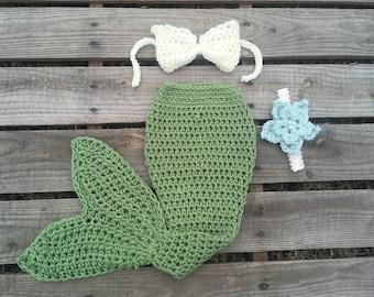 Mermaid Tail Photo Prop, Baby Mermaid Tail, mermaid fin, mermaid blanket, green mermaid tail, mermaid costume, ariel