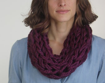 Large Cowl Scarf / Clematis / Arm Knitted