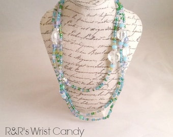 Blue,Green, Beaded Necklace, Minimalist, Stretch Necklace, Seed Bead, Necklace, Handmade, Custom, Beaded Jewelry