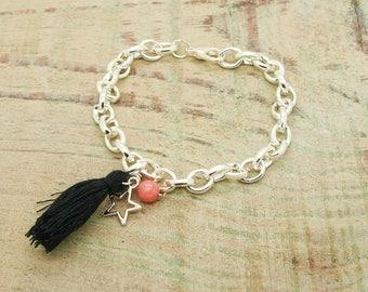 KIT / DIY bracelet links stars pink jade beads
