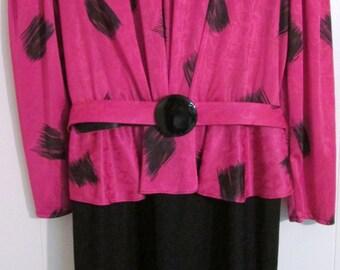 Vintage Sally Lou Pink and Black polyknit dress