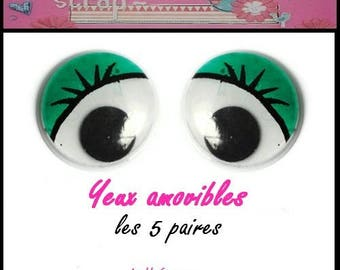 Set of 5 pairs removable eyes green embellishment scrapbooking also