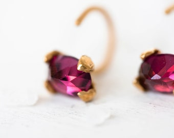Garnet gold vermeil  earrings – Gold  studs –Tiny hoop - Minimal earrings for every day