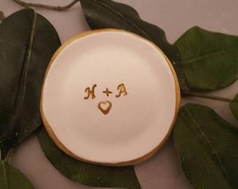 Custom Monogrammed wedding Ring dish