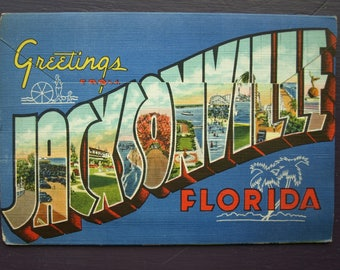 Greeting from Jacksonville Florida Vintage Souvenir Folder Foldout Postcards