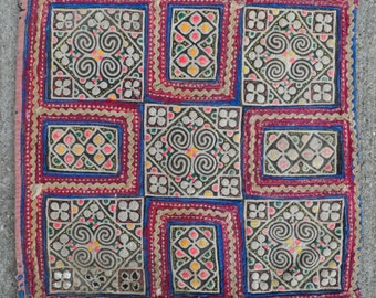 "Antique Embroidery Textile from Miao indigenous Chinese ethnic people - 10"" x 10"" - 26 x 26 cm. - Free shipping!"