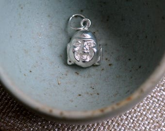 Laughing Buddha Charm Silver Buddha Charm Sterling Silver Smiling Budda Happy Buddha Good Luck Charms Lucky Buddha Charms, BS171109A