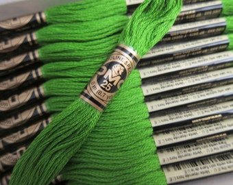 906, Medium Parrot Green, DMC Cotton Embroidery Floss - 8m Skeins - Available in Full (12-skein) Boxes - Get Up To 50% OFF, see Description