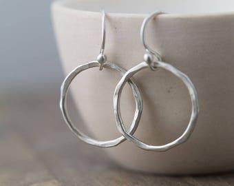 Satin Finish Silver Circle Earrings for Women | Mom Gift | Minimalist Silver Dangle Earrings | Minimal Silver Jewelry | Simple Earrings