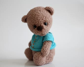 Hand knitted bear Bear Bear doll Bear toy Teddy bear  Knitted bear for children Baby bear Cute bear