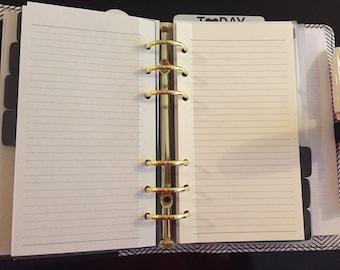 Printed Personal Planner Filofax Kikki K Medium Lined Paper Inserts 40 Sheets