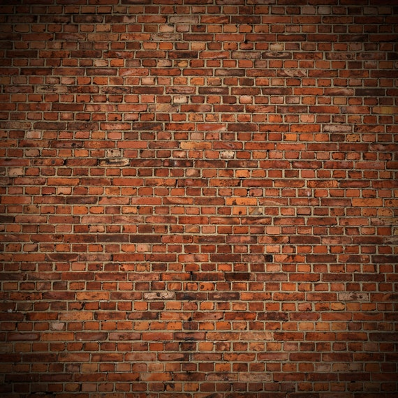 Old Red Brick Backdrop Weathered Rustic Brick Wall Printed