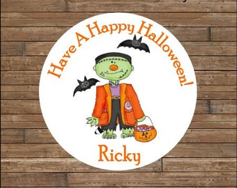 Personalized Halloween Stickers    Frankenstein Stickers      Frankenstein Favor Tags        Halloween Treat Bag Tags