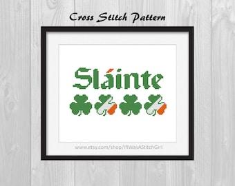 Slainte Counted Cross Stitch Pattern - Irish Cheers Cross Stitch - St. Patrick's Cross Stitch - St. Patrick's Day Decor - Irish Decor